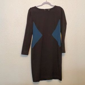 Ann Taylor long sleeve color block dress